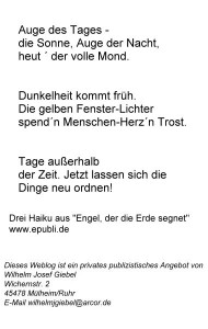 Transformation drei Haiku aus Engel, der...